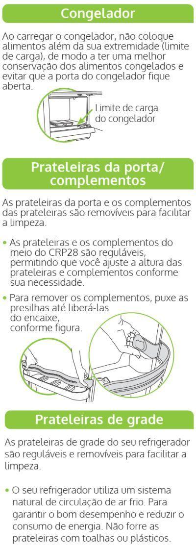 Geladeira Consul CRC28 - componentes e compartimentos