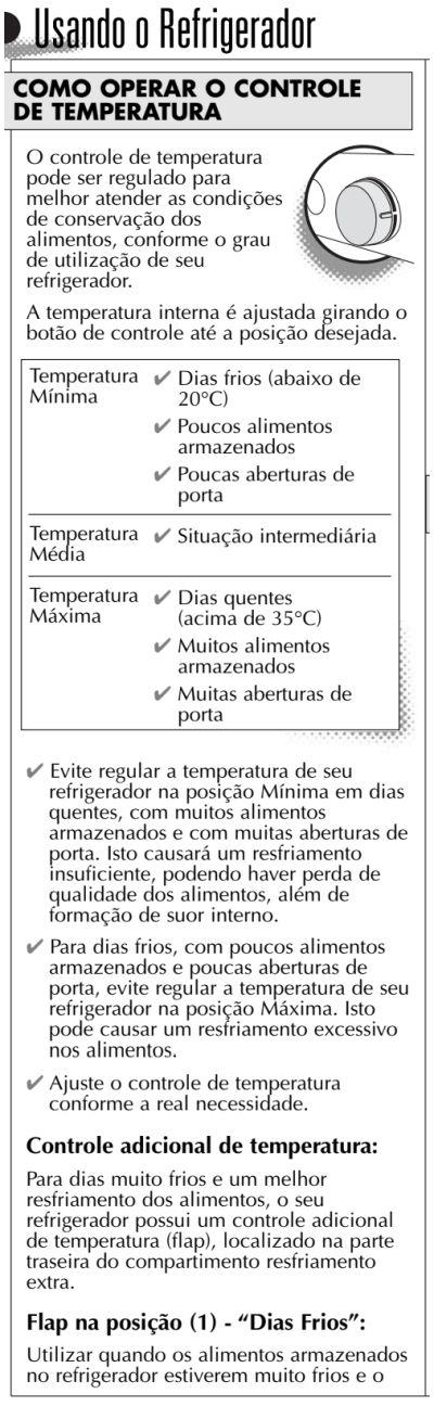 Geladeira Consul CRC30 - como usar - ajustando temperatura 1