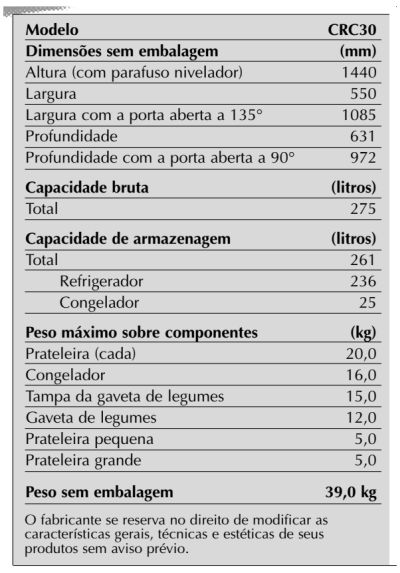 Geladeira Consul CRC30 - especificações técnica