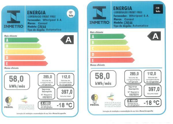 Medidas da Geladeira Consul - CRE44 - selo INMETRO