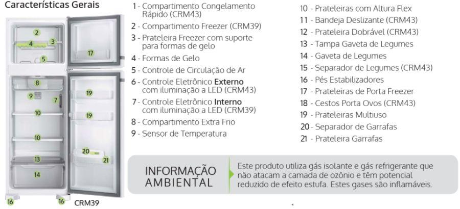 Geladeira Consul CRM39 - partes da geladeira