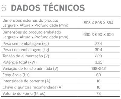 Forno elétrico Brastemp BOC60 - conhecendo produto  - especificações técnica