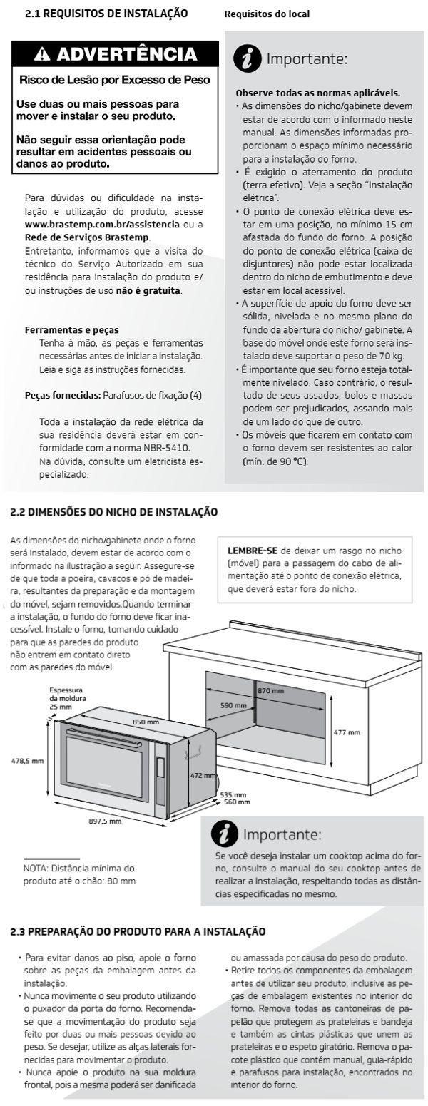 Forno elétrico Brastemp BOC90 - instalando produto 1