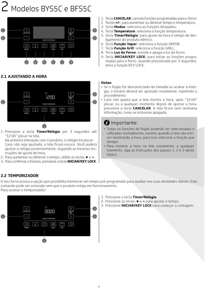 Fogão Brastemp bfs5ccr - como usar painel fulltouch - 1