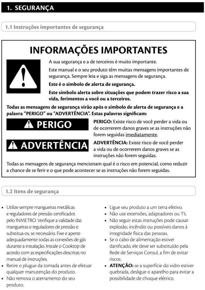 Cooktop Consul - instruções de segurança 1