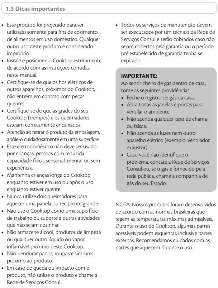Cooktop Consul - instruções de segurança 2