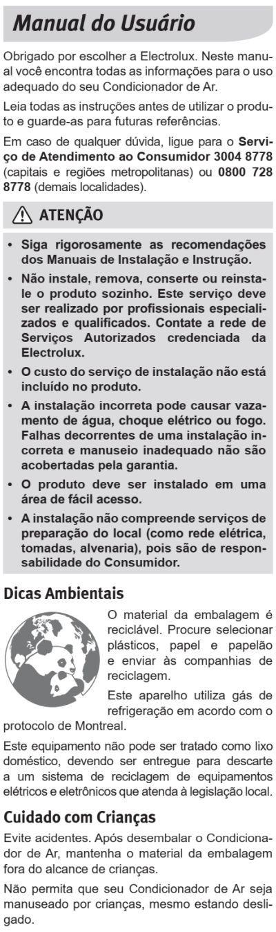 Ar condicionado Electrolux xi-xe - instruções de segurança 1