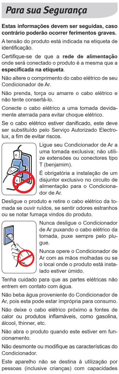 Ar condicionado Electrolux xi-xe - instruções de segurança 2