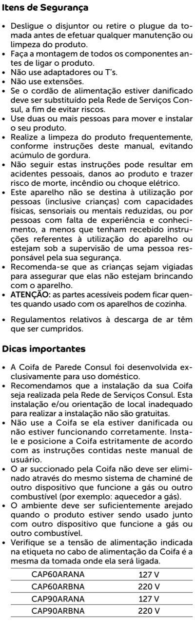 Coifa Consul id1 - instruções de segurança 2