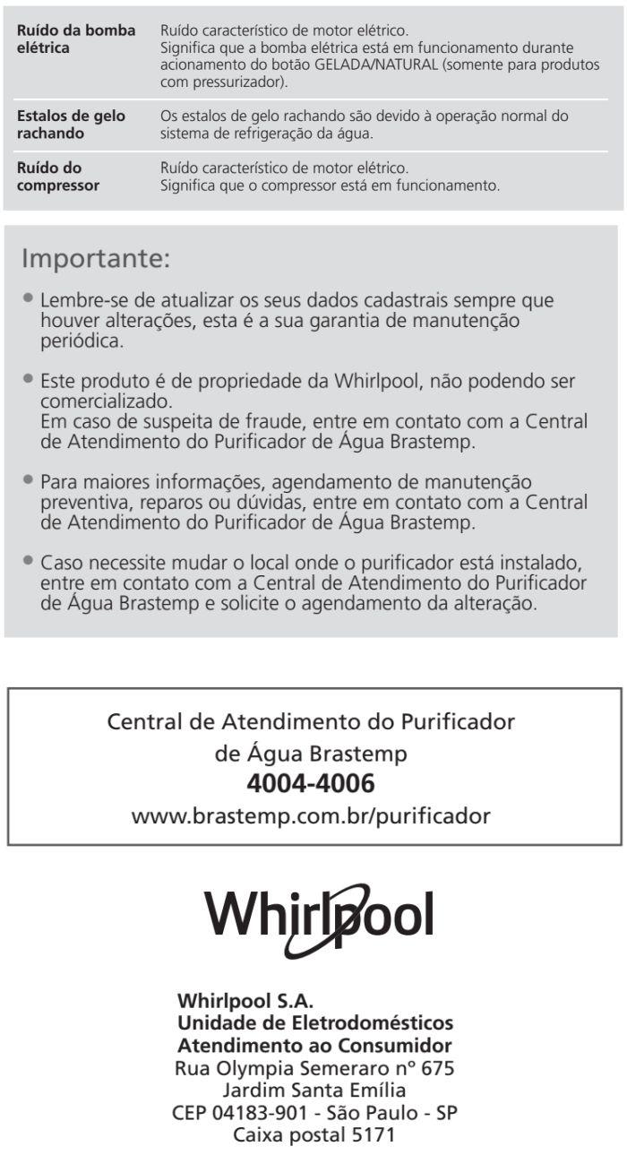 Purificador de água Brastemp - Modernidade - solucionando problemas do produto 2