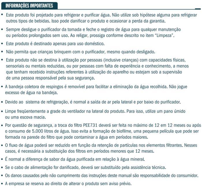 Purificador de água Esmaltec - instruções de segurança