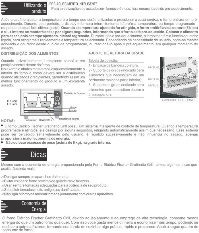 Forno elétrico Fischer 17078 - como usar 2