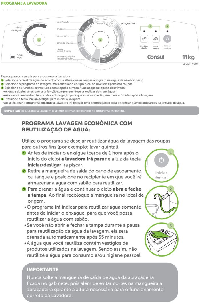 Lavadora de roupas Consul  CWS11 - como usar 2