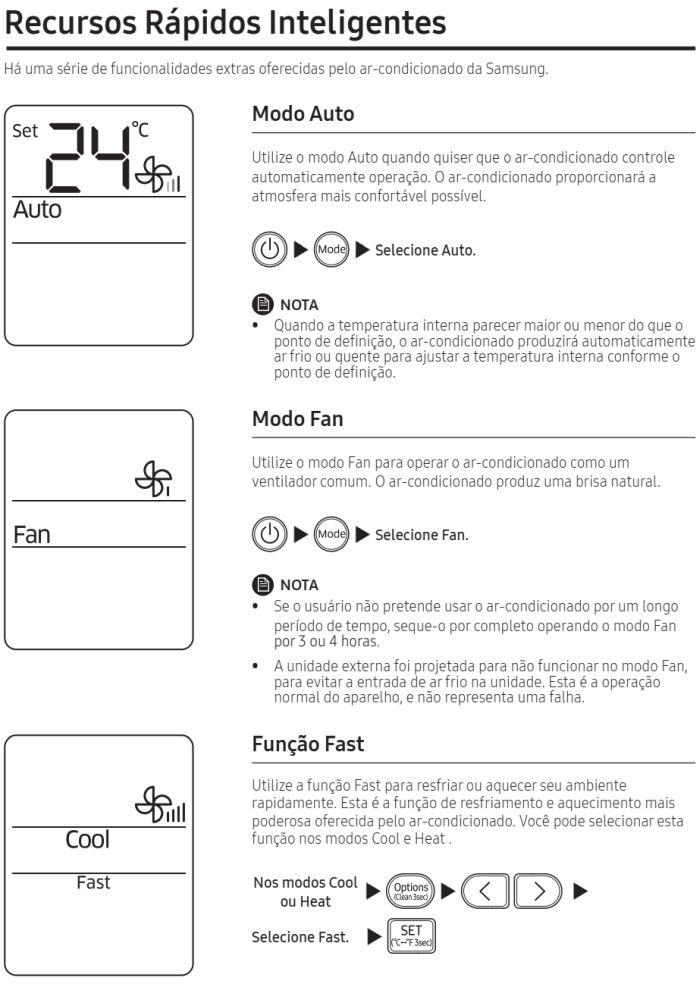 Ar condicionado split Samsung Inverter Wind Free AR**NSPX*** - como usar 7