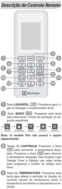 Ar condicionado Electrolux vi-ve12f - ajustando a temperatura 2