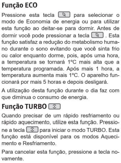 Ar condicionado Electrolux vi-ve12f - ajustando a temperatura 3