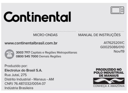 Micro-ondas Continental - capa manual