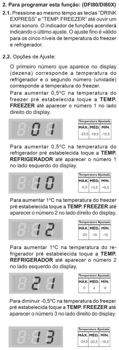 Ajuste temperatura refrigerador DI80X - ajuste fino 2