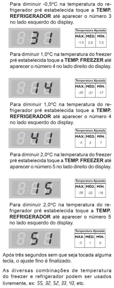 Ajuste temperatura refrigerador DI80X - ajuste fino 3