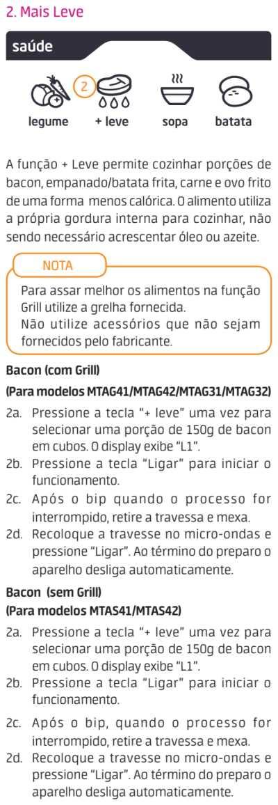Micro-ondas Midea MTA*** - menu saúde - 3